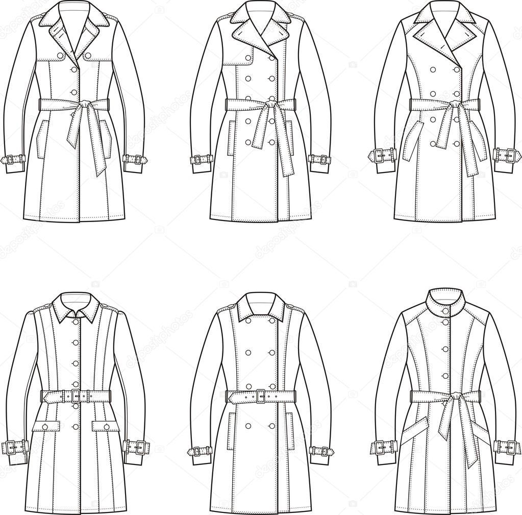 Women's trench coat — Stock Vector © pushinka11 #84087680