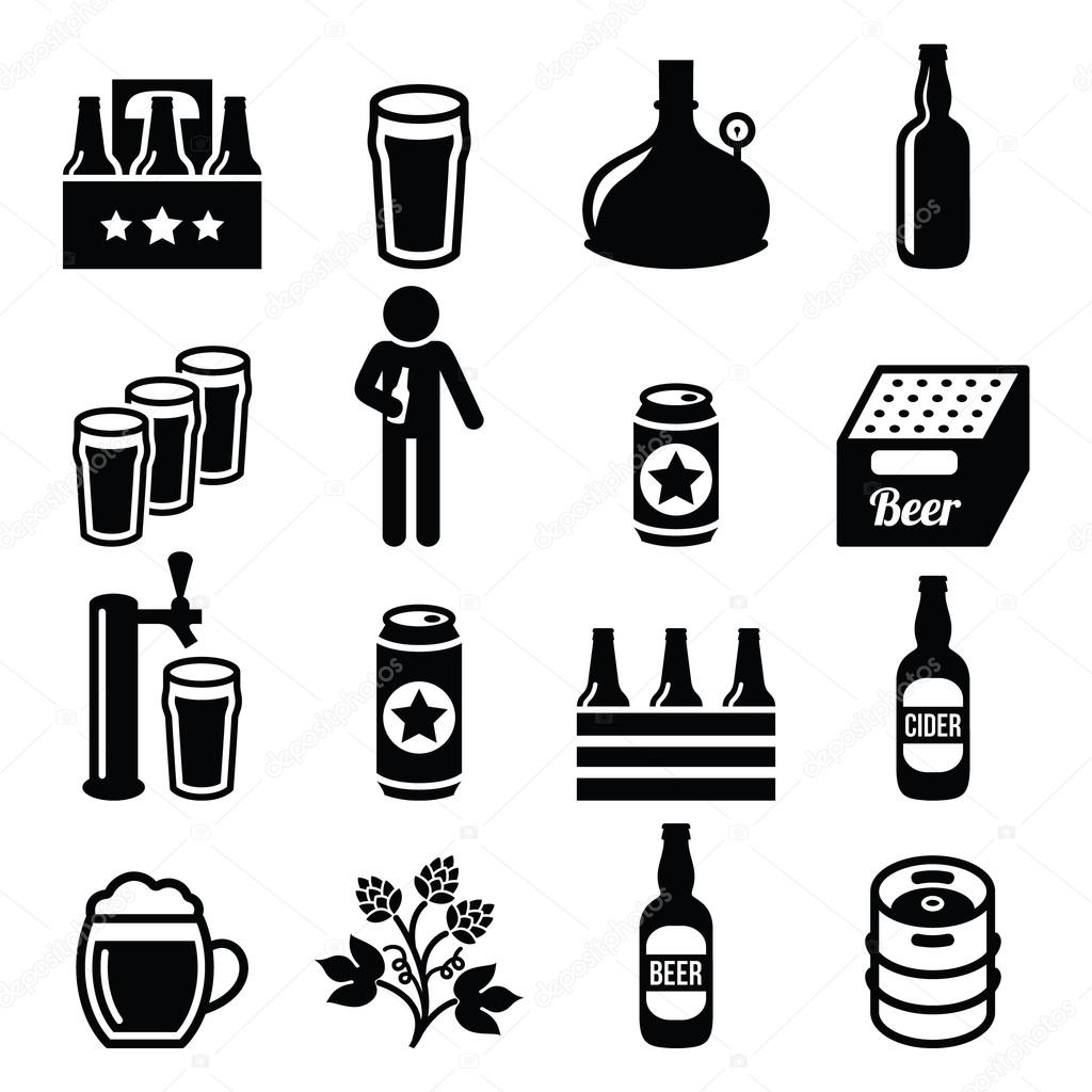 Beer Brewery Pub Vector Icons Set