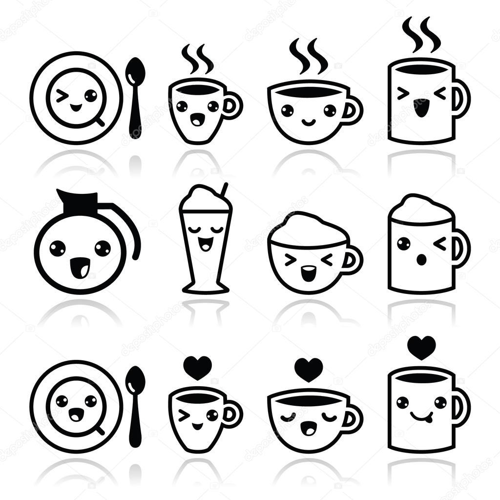 Lindo Cafe Capuccino Y Espresso Set Negro Icono Kawaii