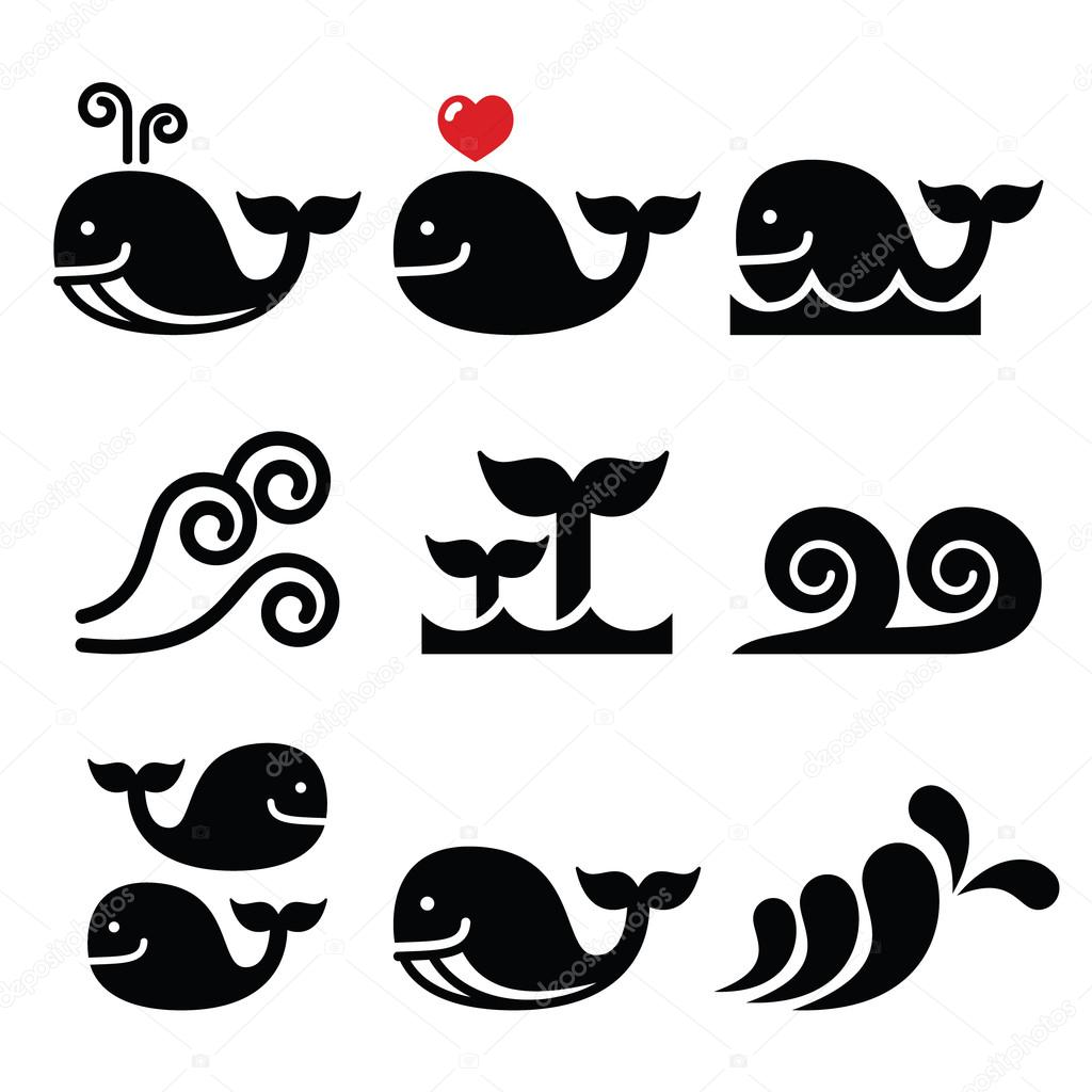 Whale Sea Or Ocean Waves Icons Set