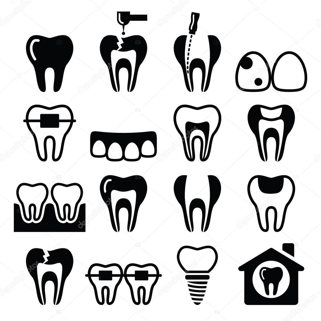 Tooth Teeth Dental Clinic Vector Icons Set