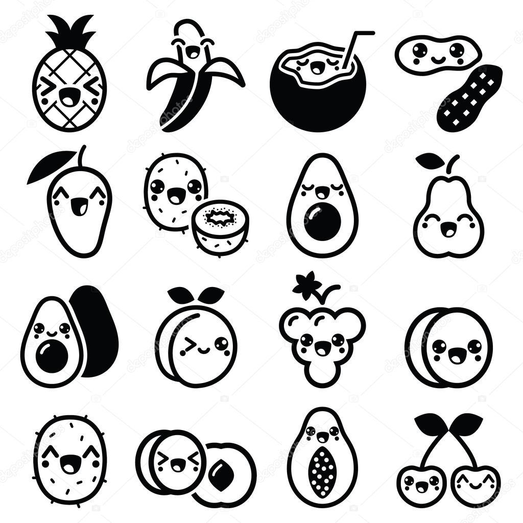 Kawaii Fruits Et Noix Ensemble D Icones