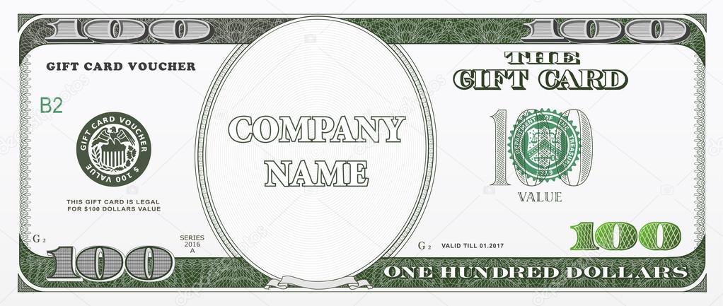 One Hundred Dollar Bill Template