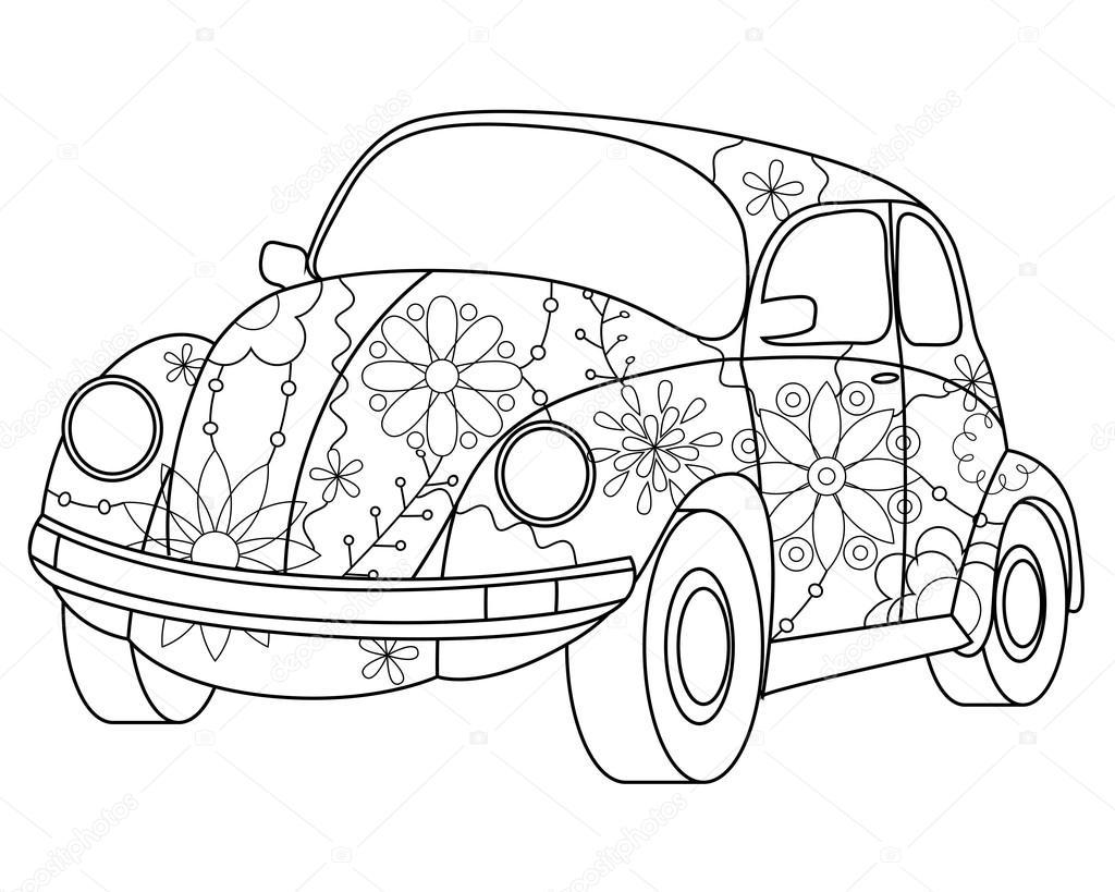 Coloriage voiture coccinelle — Image vectorielle Marishayu