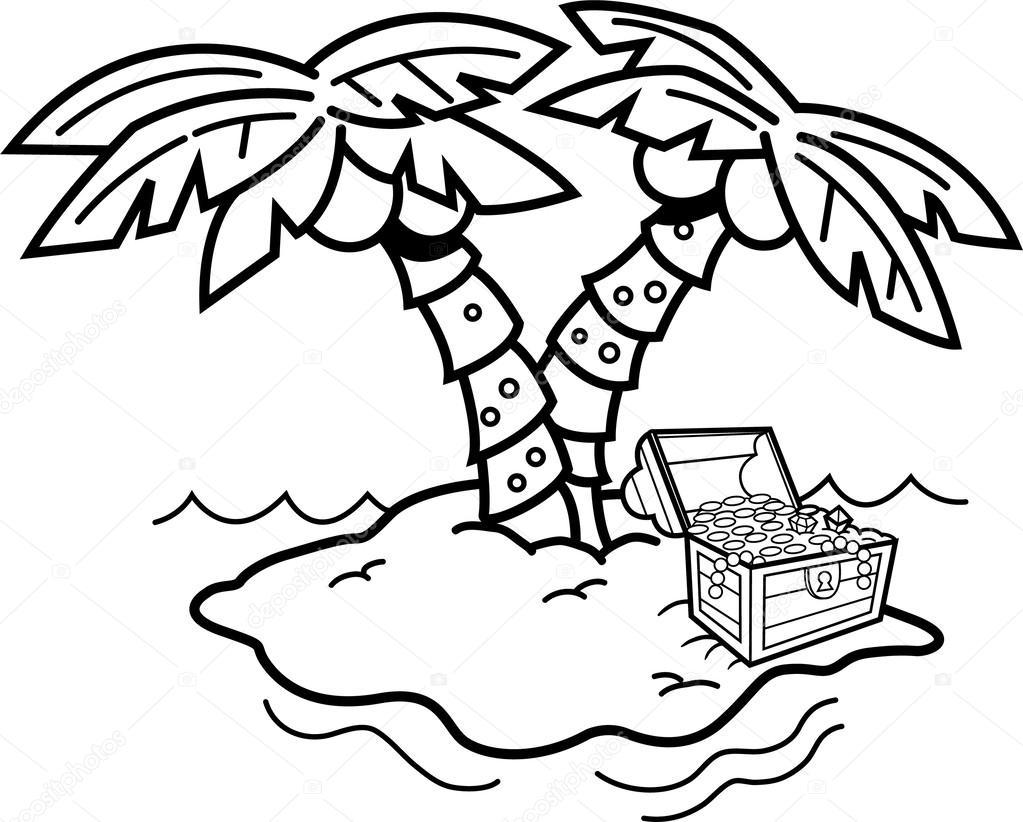 Île de dessin animé avec des palmiers et un coffre au