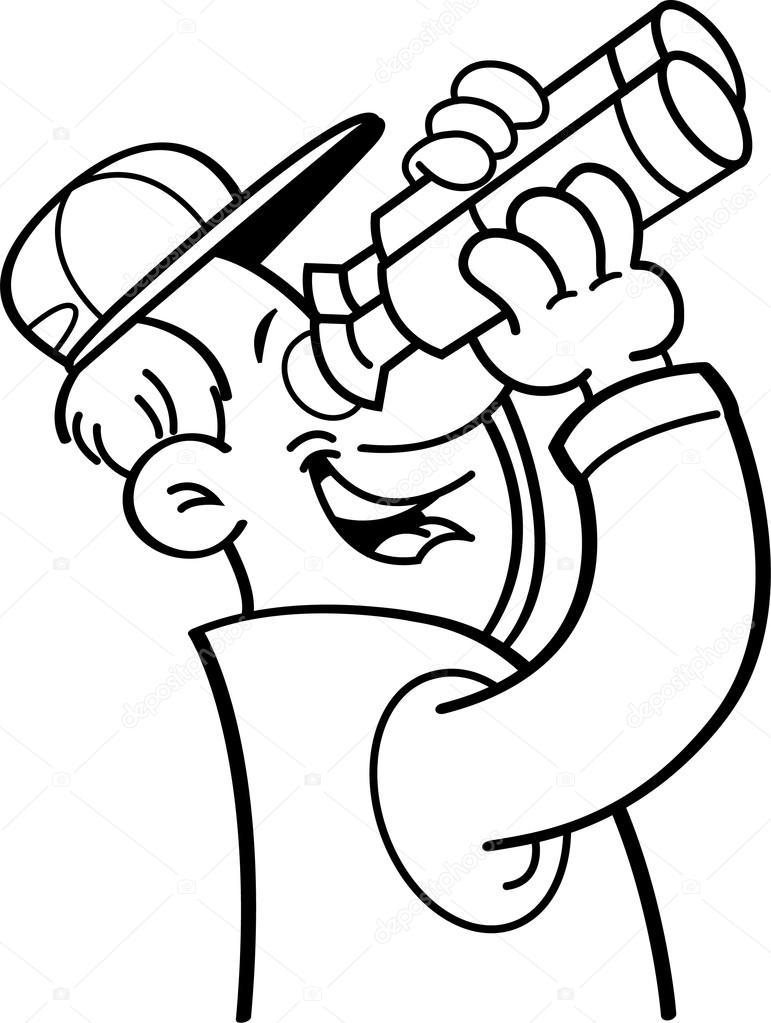 Cartoon man looking through binoculars. — Stock Vector