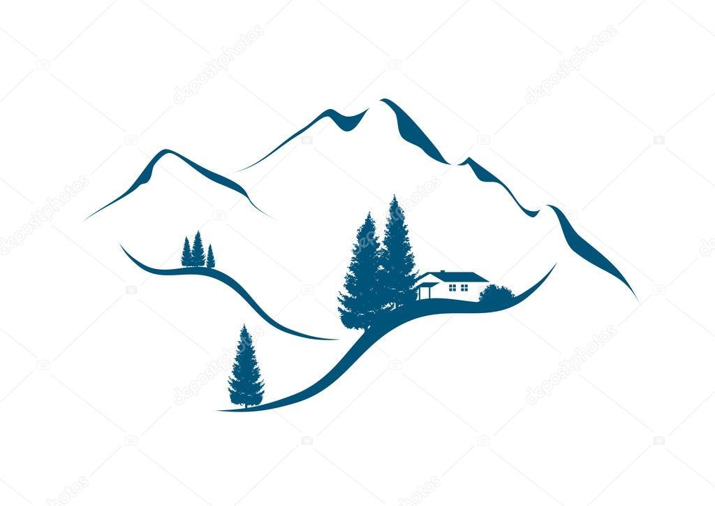 paesaggio alpino della montagna con chalet e abeti  Vettoriali Stock  numismarty 77526624