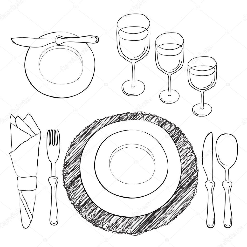 Vektor Tabelleneinstellung Wei Und Klar Geschirr Und