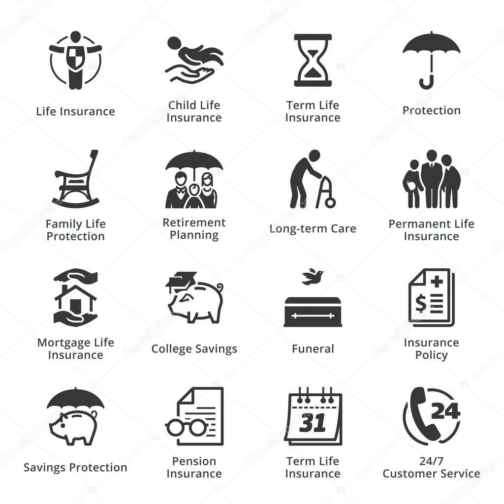 Lebensversicherung-Icons — Stockvektor © Introwiz #100448082