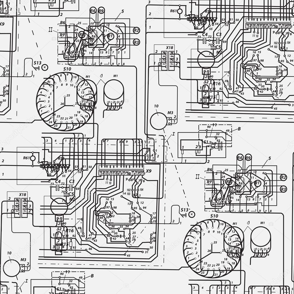 hight resolution of abstract seamless pattern on the theme of science and electrical engineering black fantastic wiring diagram on a white background vector illustration