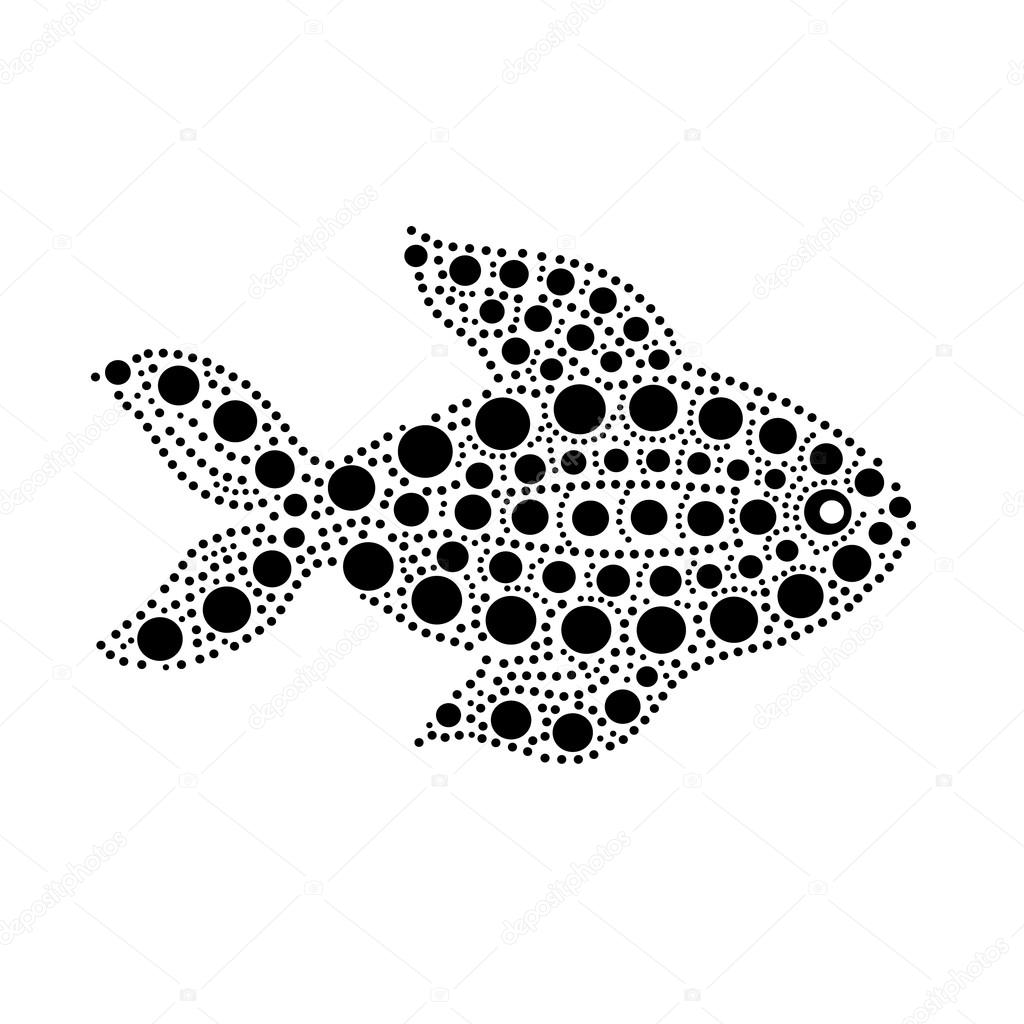 Black And White Dotted Fish Silhouette Australian