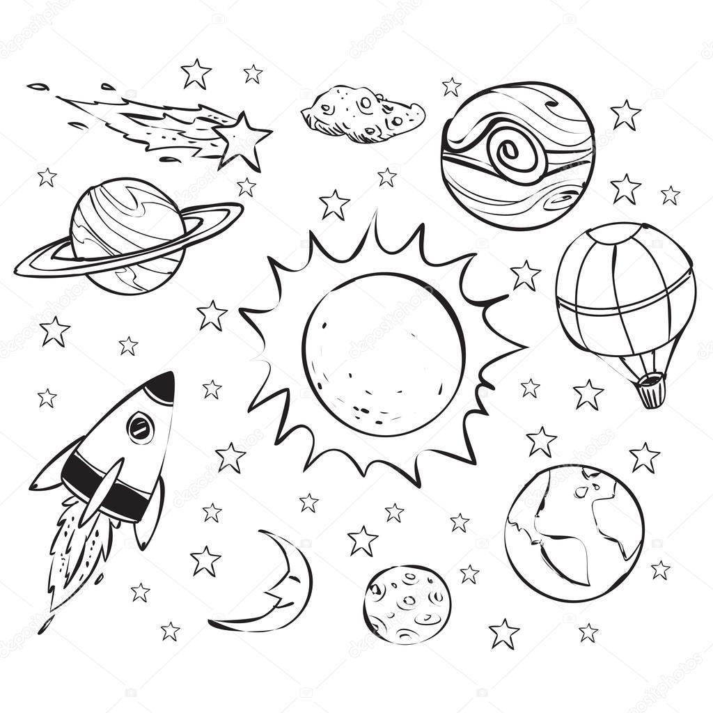 空间主题涂鸦,白底黑 — 图库矢量图片#110605282