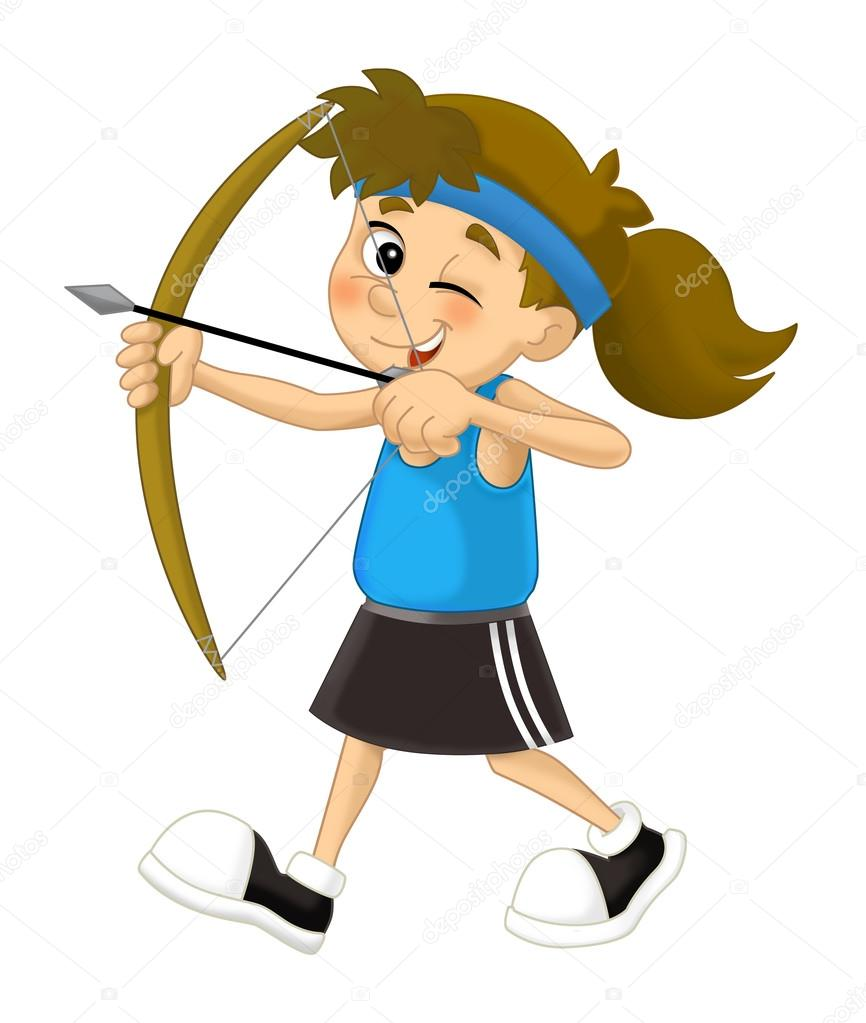 Cartoon Kid Shooting Bow Archer Stock Photo