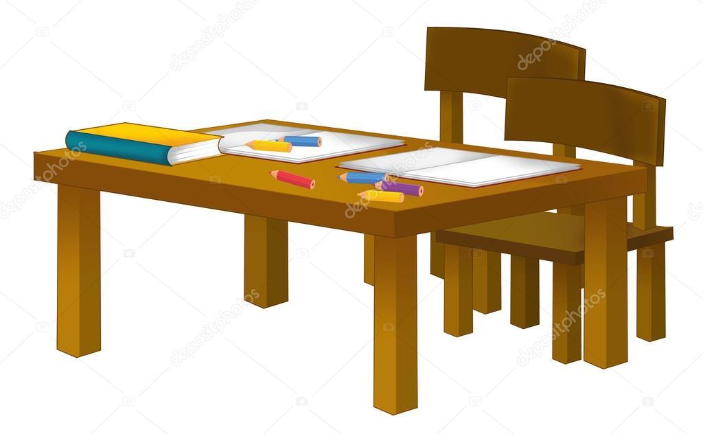 Escritorio de la escuela de dibujos animados - aislado — Foto de stock © illustrator_hft #99357746