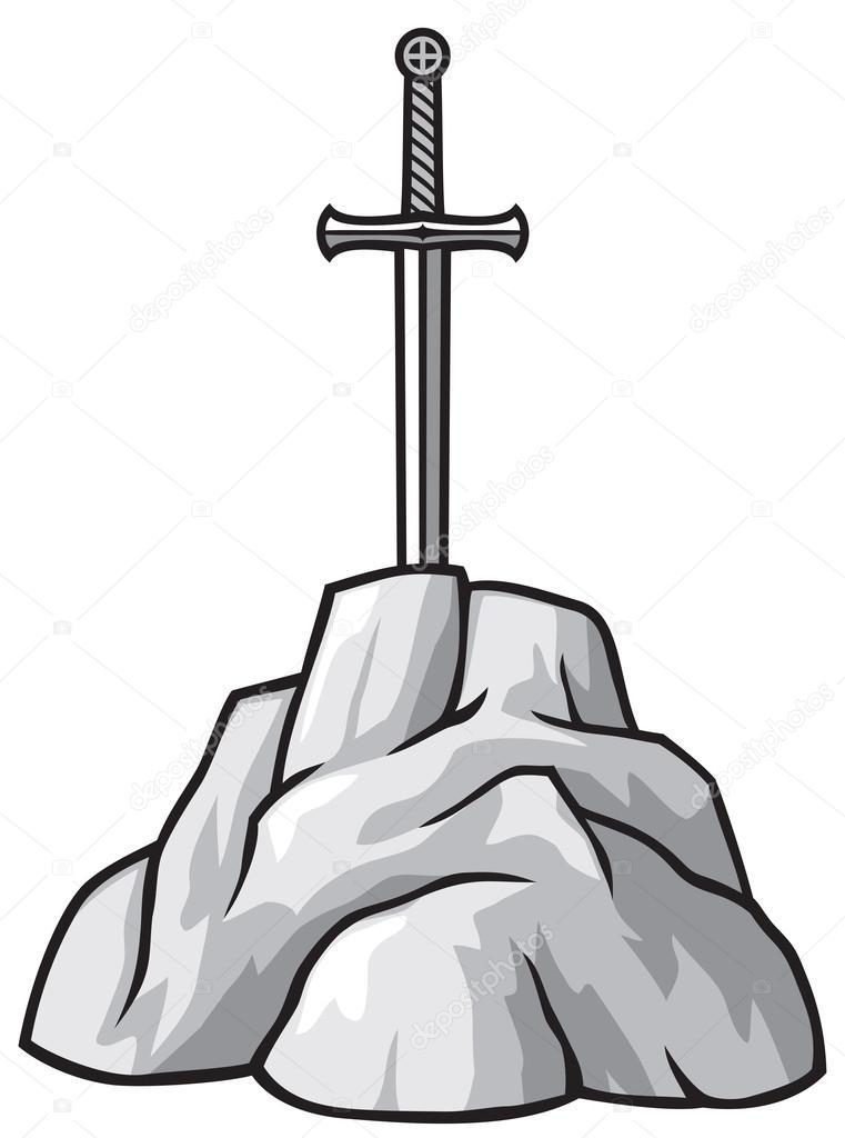 Patung Selamat Datang Vector : patung, selamat, datang, vector, Vector:, Espada, Excalibur, Sword, Stone, Stock, Vector, Tribaliumivanka, #85189594