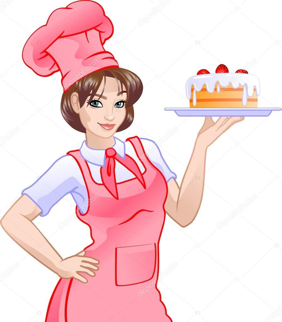 girl chef in pink