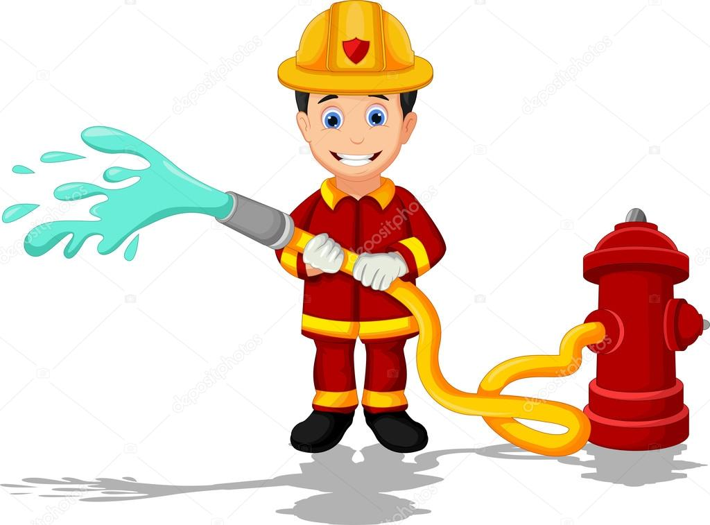 cartoon fireman stock vector