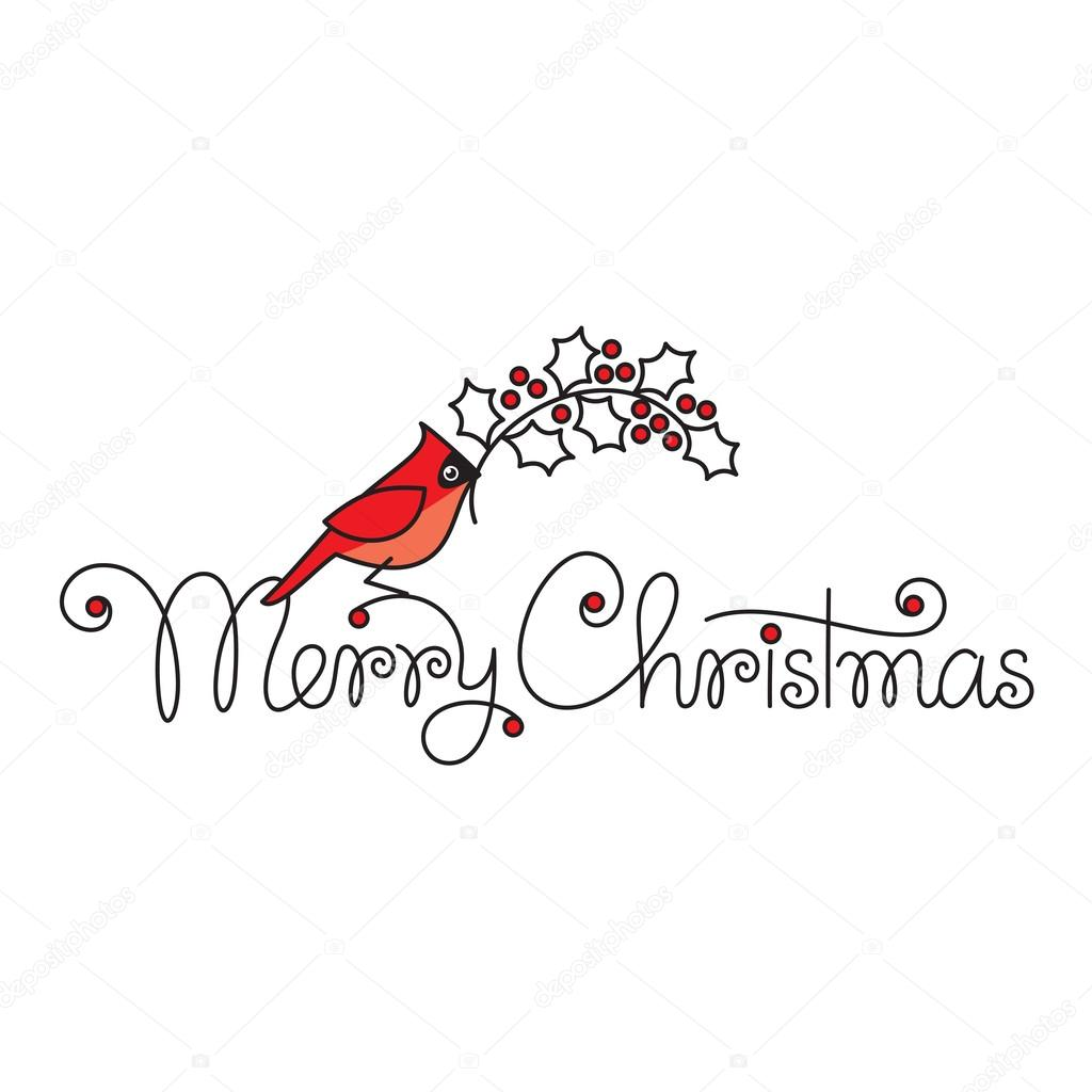 Merry Christmas Text Hand Lettering With Red Robin Bird