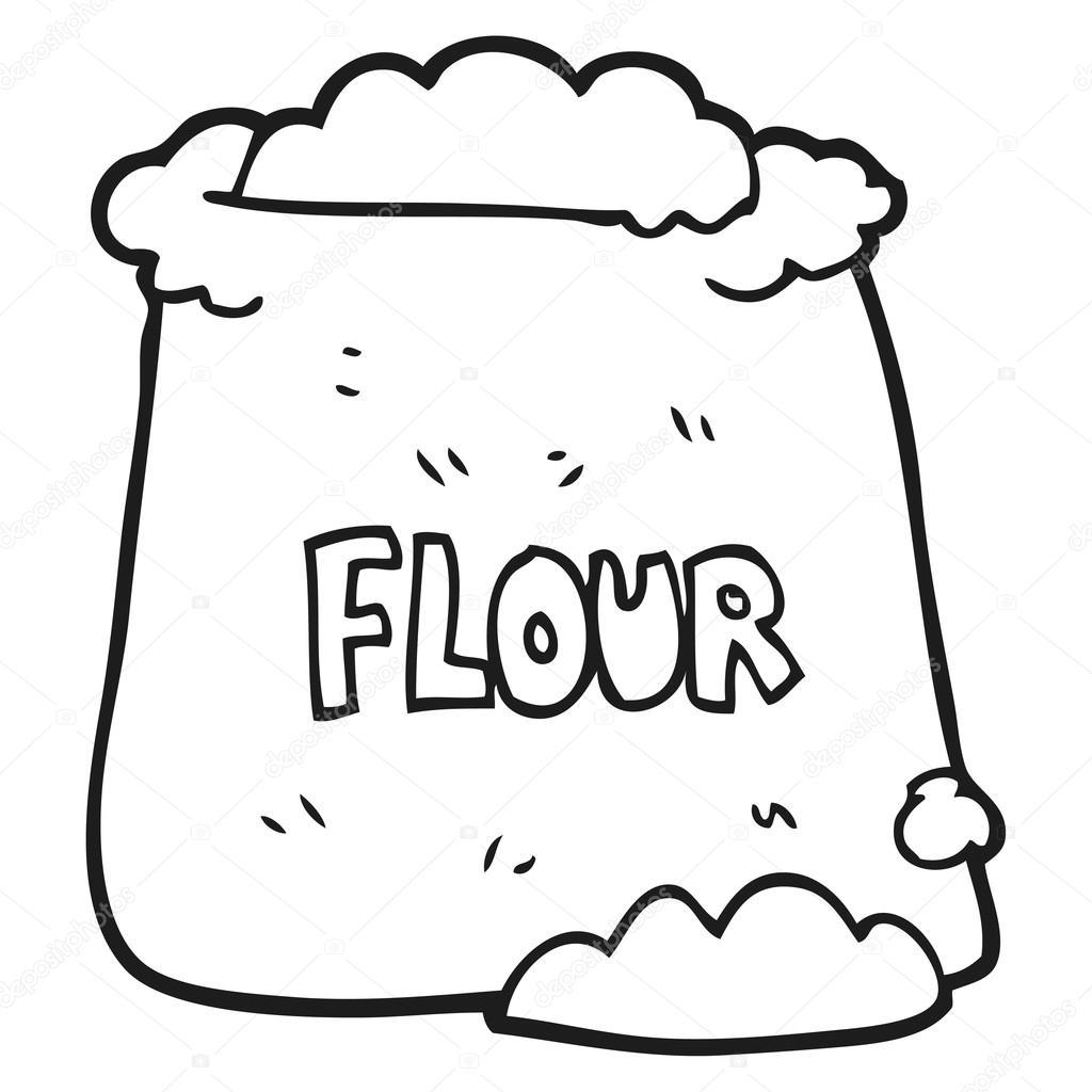 saco preto e branco dos desenhos animados de farinha