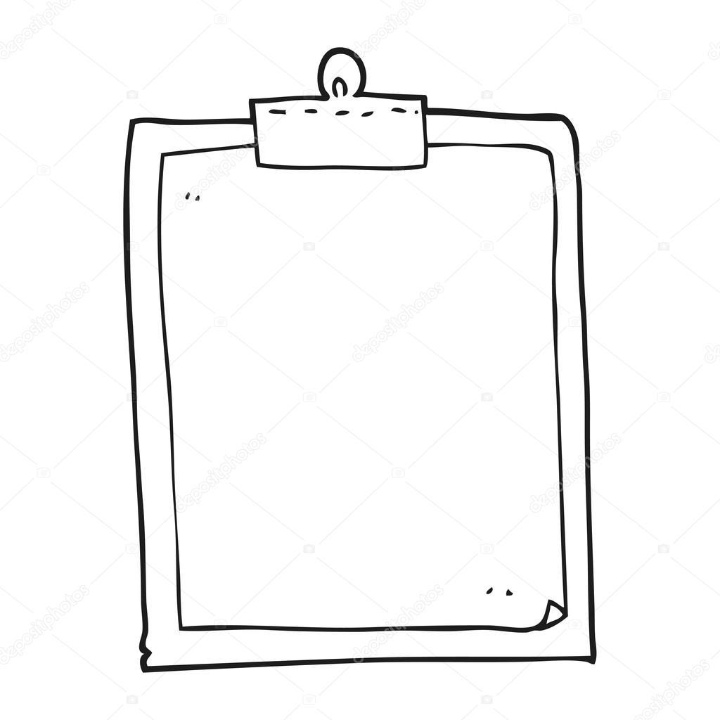 Black And White Cartoon Clipboard