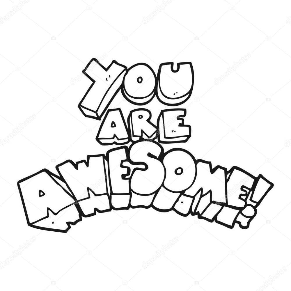 medium resolution of you are awesome black and white cartoon sign stock vector