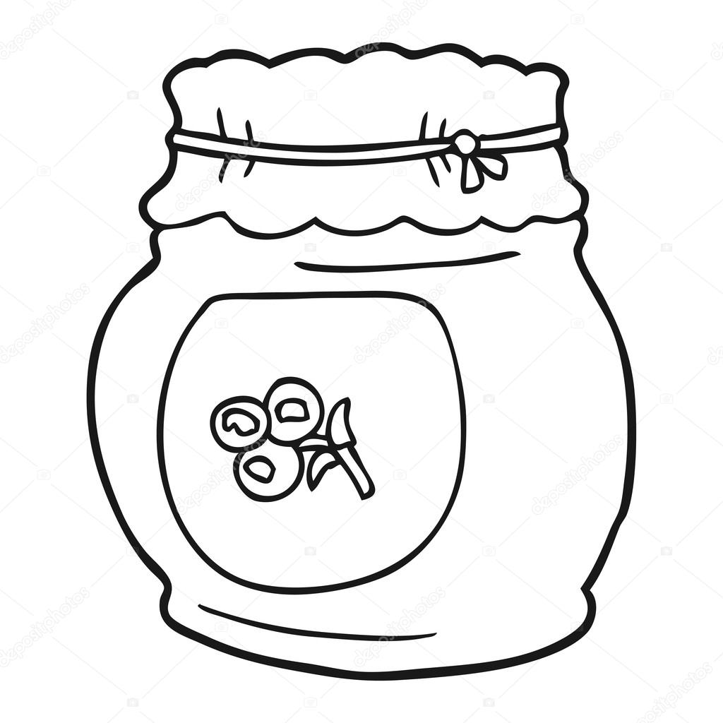 Black And White Cartoon Blueberry Jam