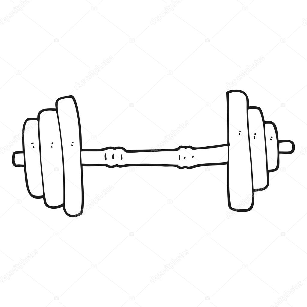 Black And White Cartoon Barbell