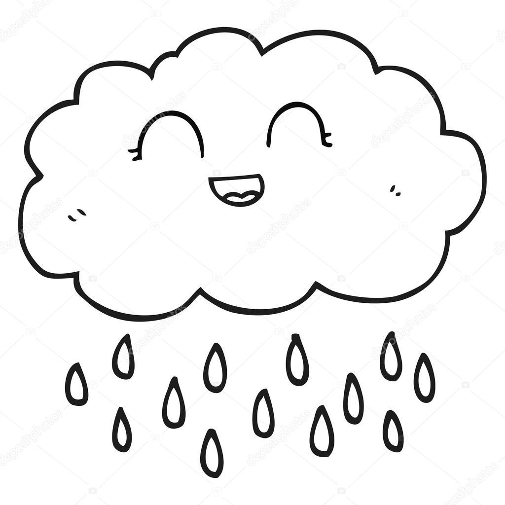 Zwart Wit Cartoon Regen Wolk