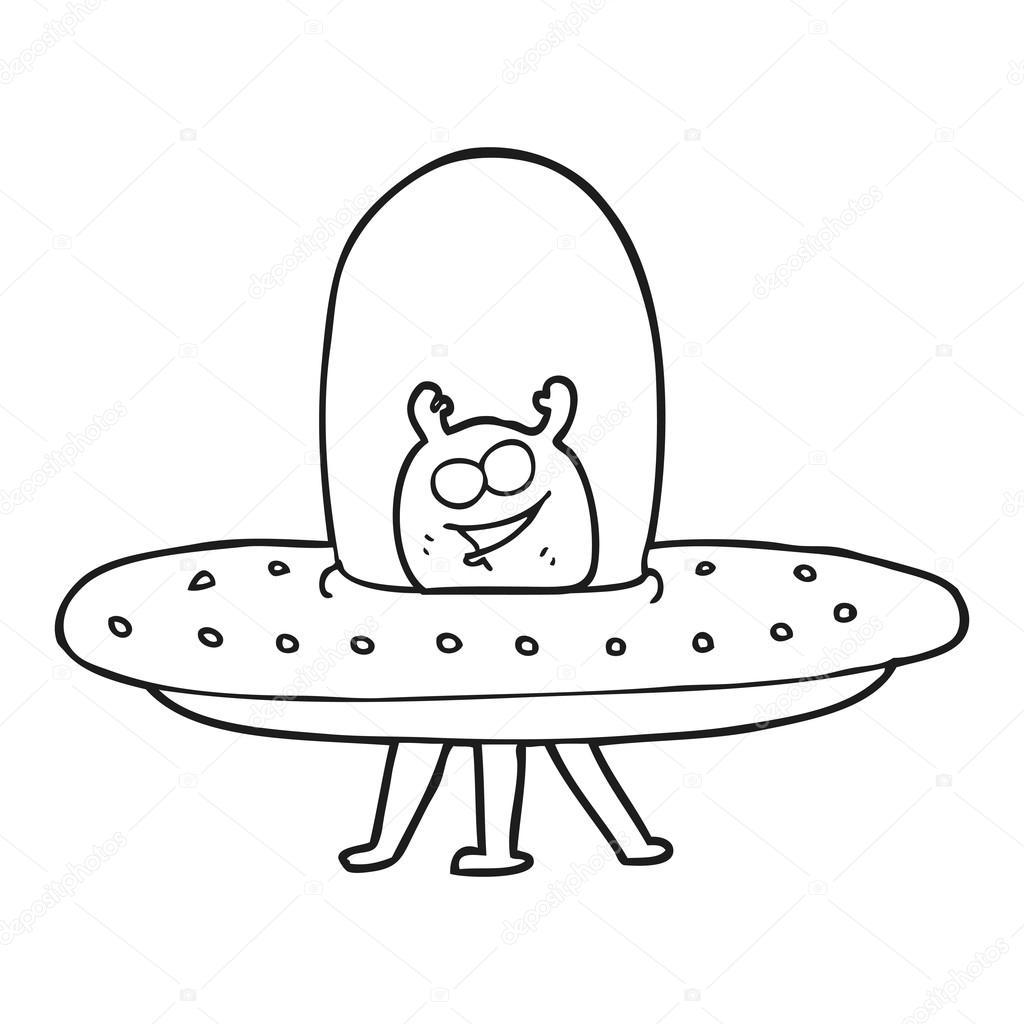 Alien Del Espacio De Dibujos Animados Blanco Y Negro