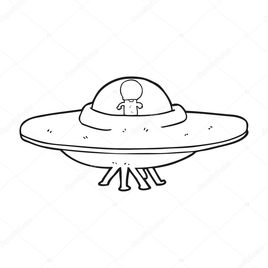 Black And White Cartoon Alien Flying Saucer