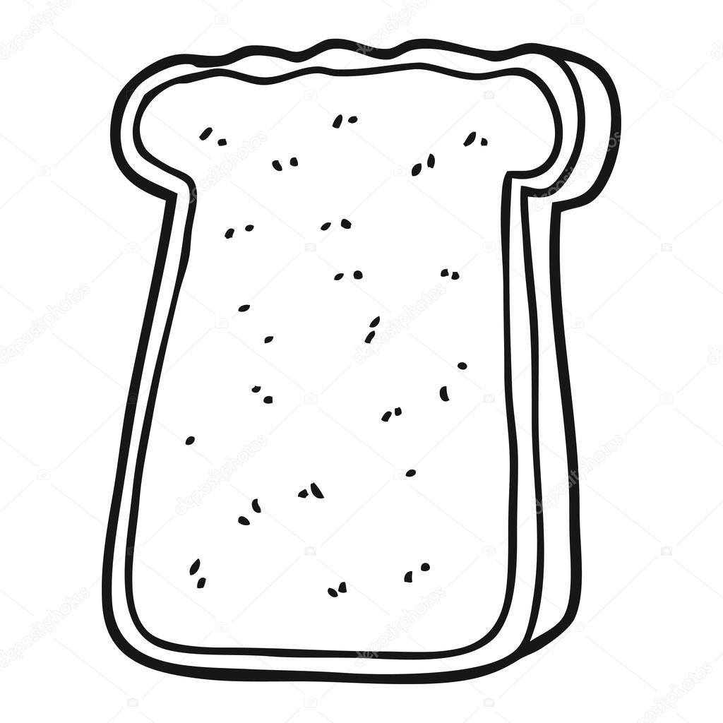Black And White Cartoon Slice Of Toast