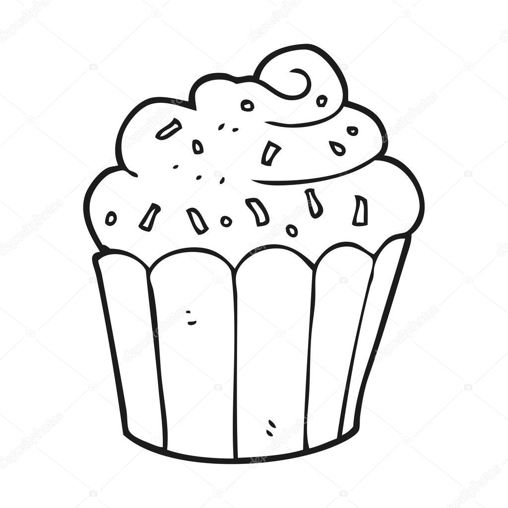 Zwart Wit Cartoon Cupcake