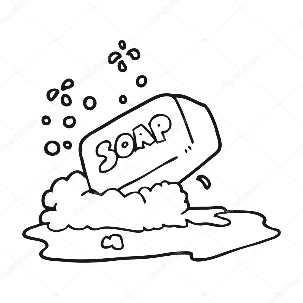 black and white cartoon bar of soap — Stock Vector