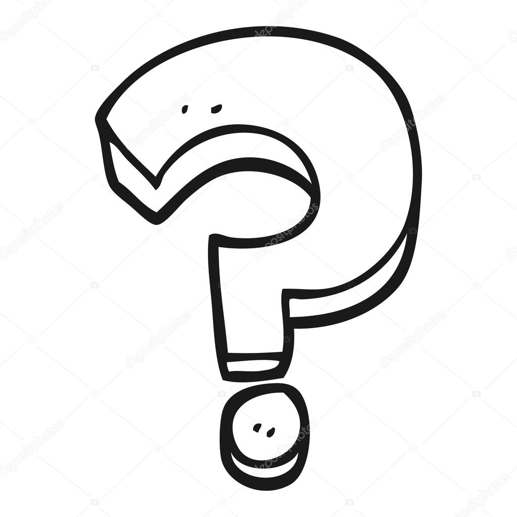 Black and white cartoon question mark — Stock Vector