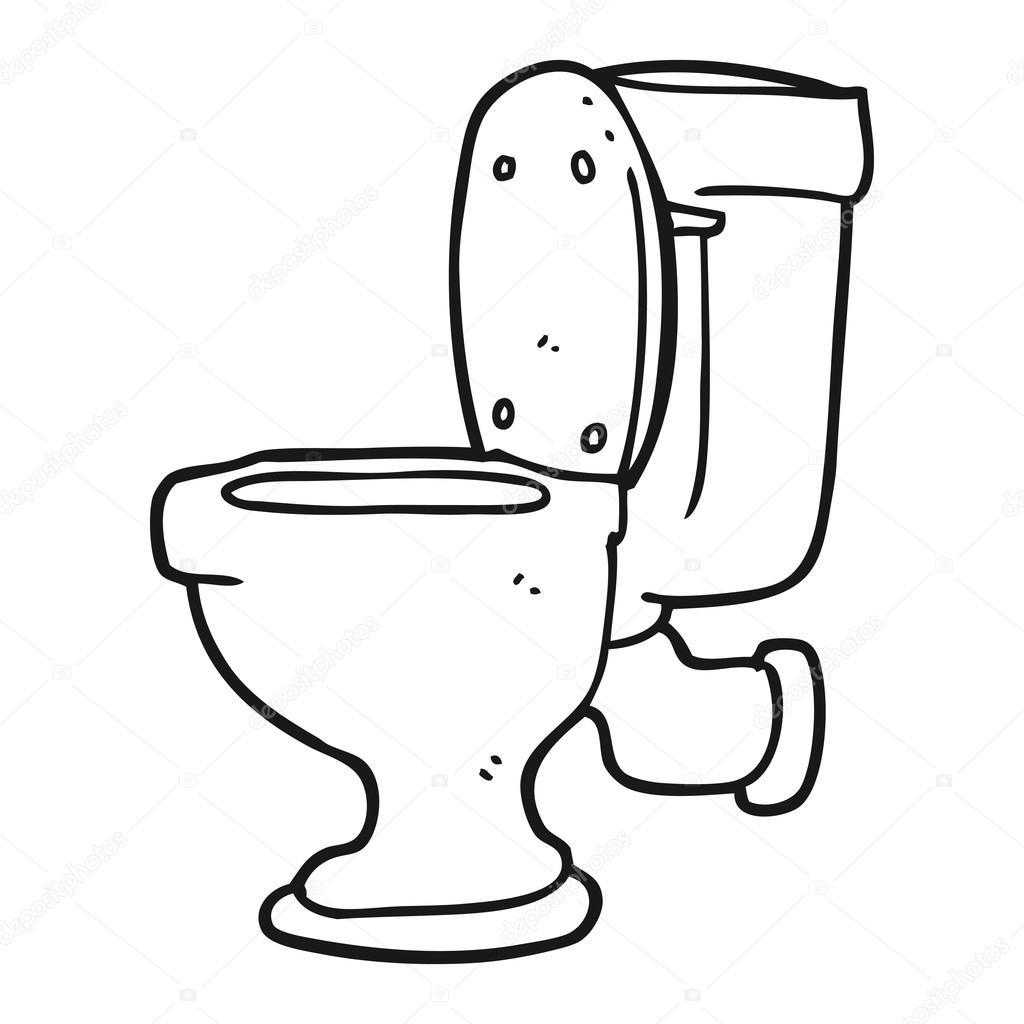 Black And White Cartoon Toilet