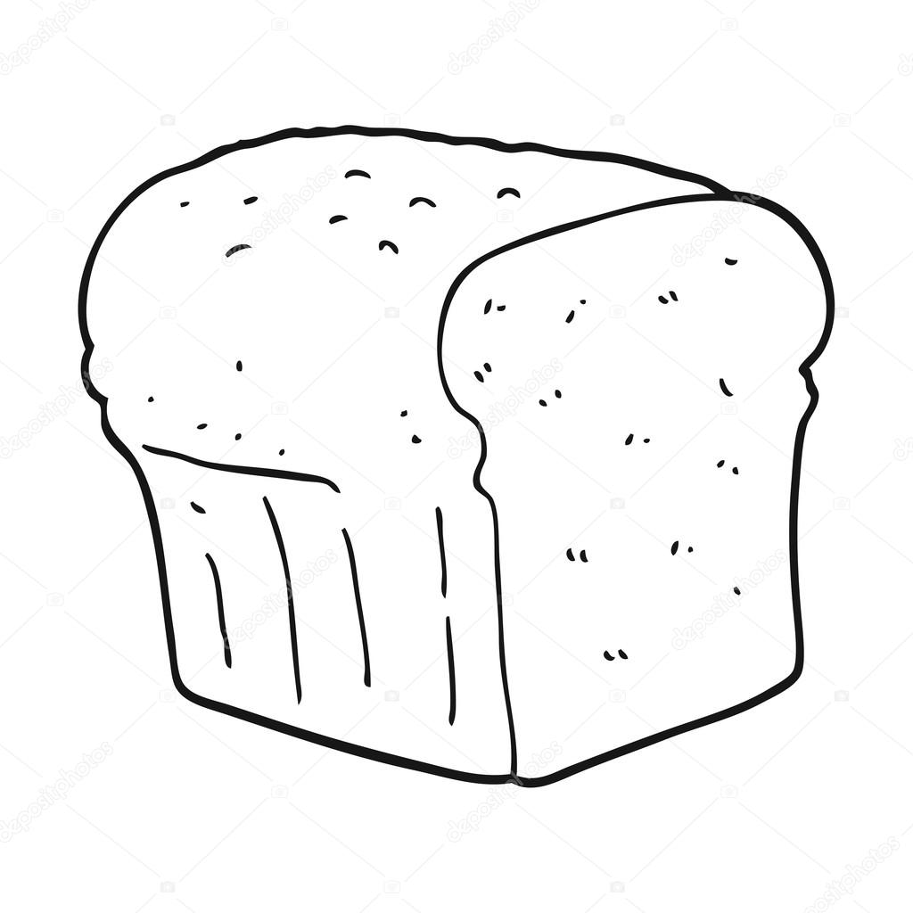 Black And White Cartoon Bread