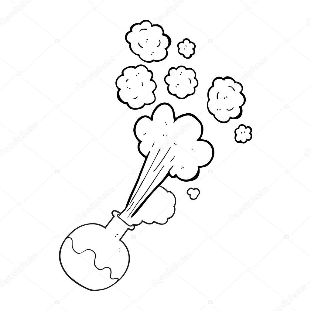 Reacción química de dibujos animados blanco y negro