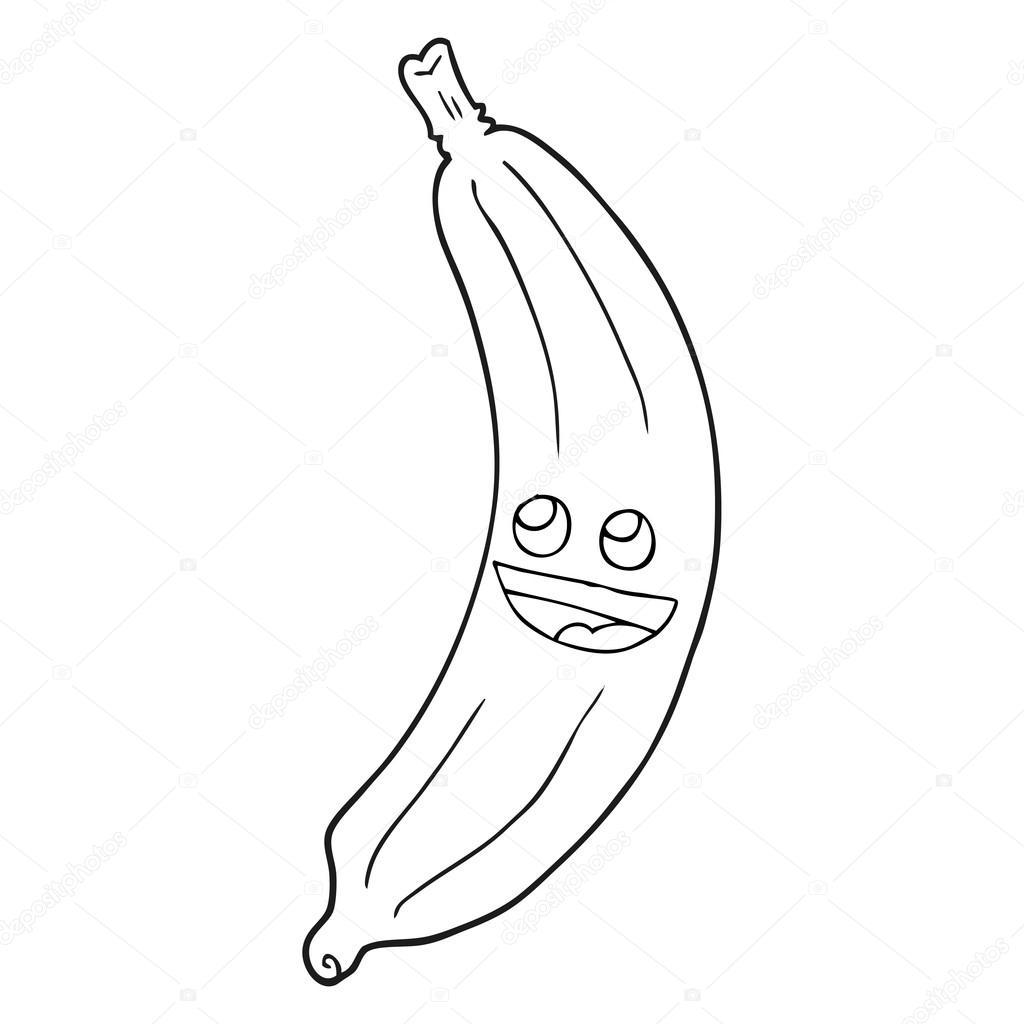Czarno Bia Y Rysunek Banan