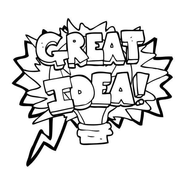 speech bubble cartoon great idea light bulb symbol — Stock