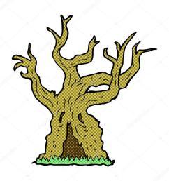 komiks kresk wka upiorny stare drzewo wektor stockowy [ 1024 x 1024 Pixel ]