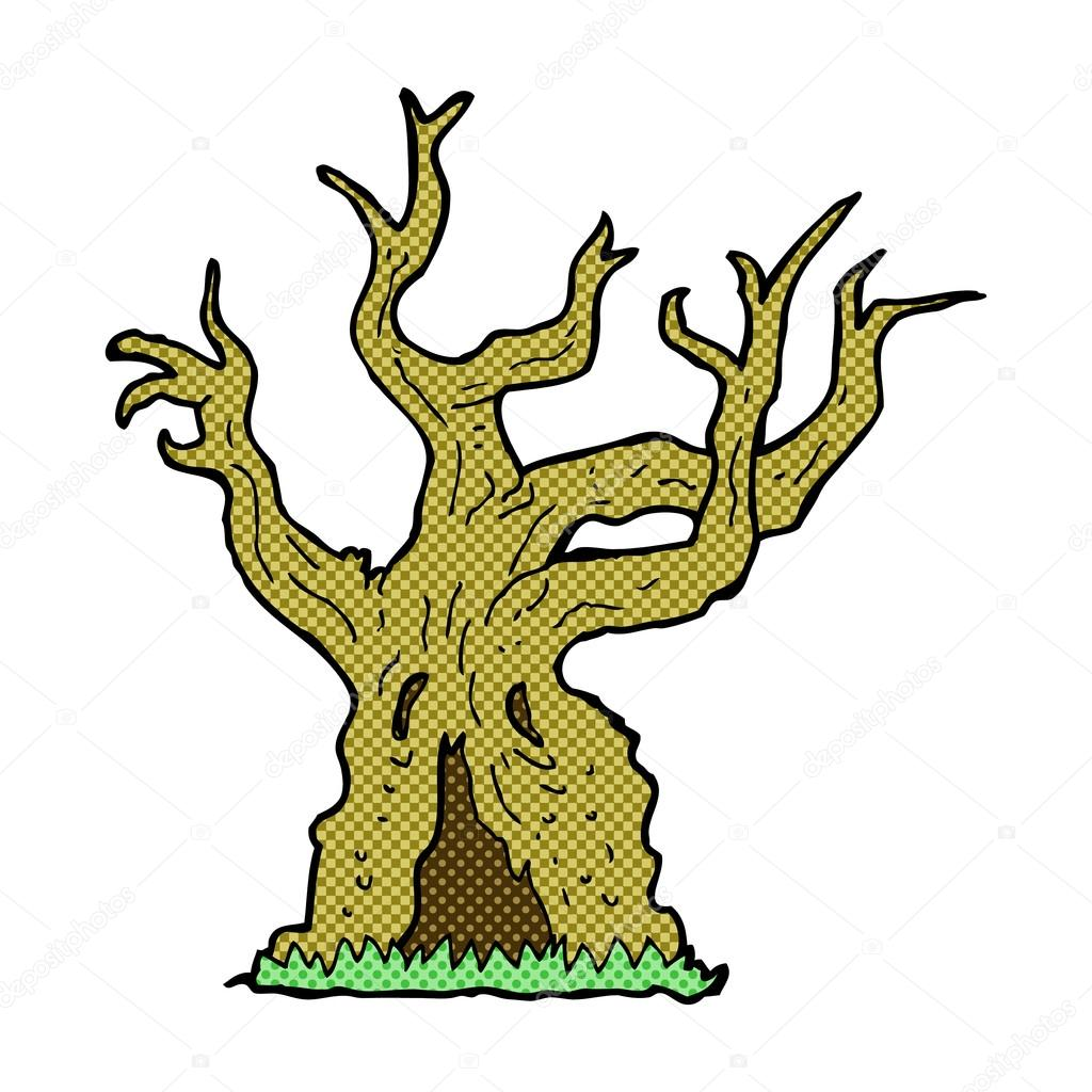 hight resolution of komiks kresk wka upiorny stare drzewo wektor stockowy