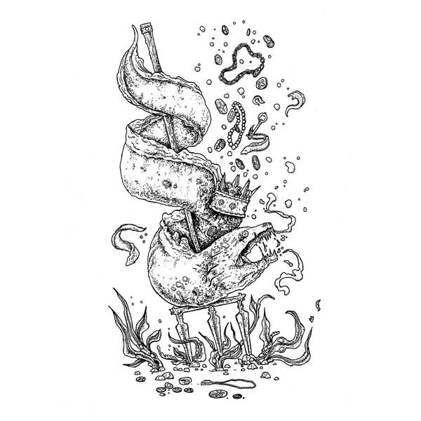 Tridente tatuaggio in bianco e nero — Vettoriale Stock