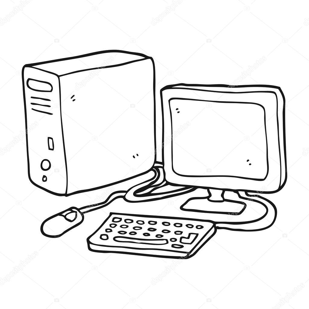 Freehand Getekende Cartoon Computer