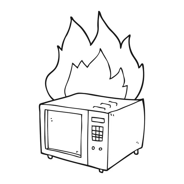 black and white cartoon microwave — Stock Vector