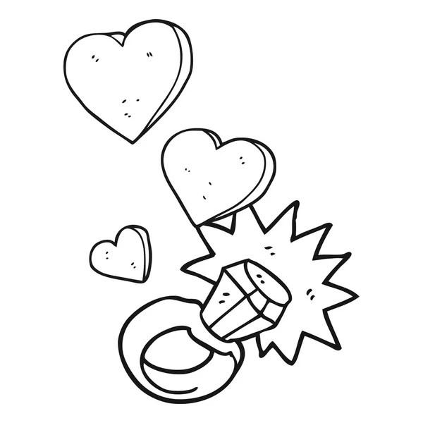 Dibujos animados de anillo de compromiso de diamante