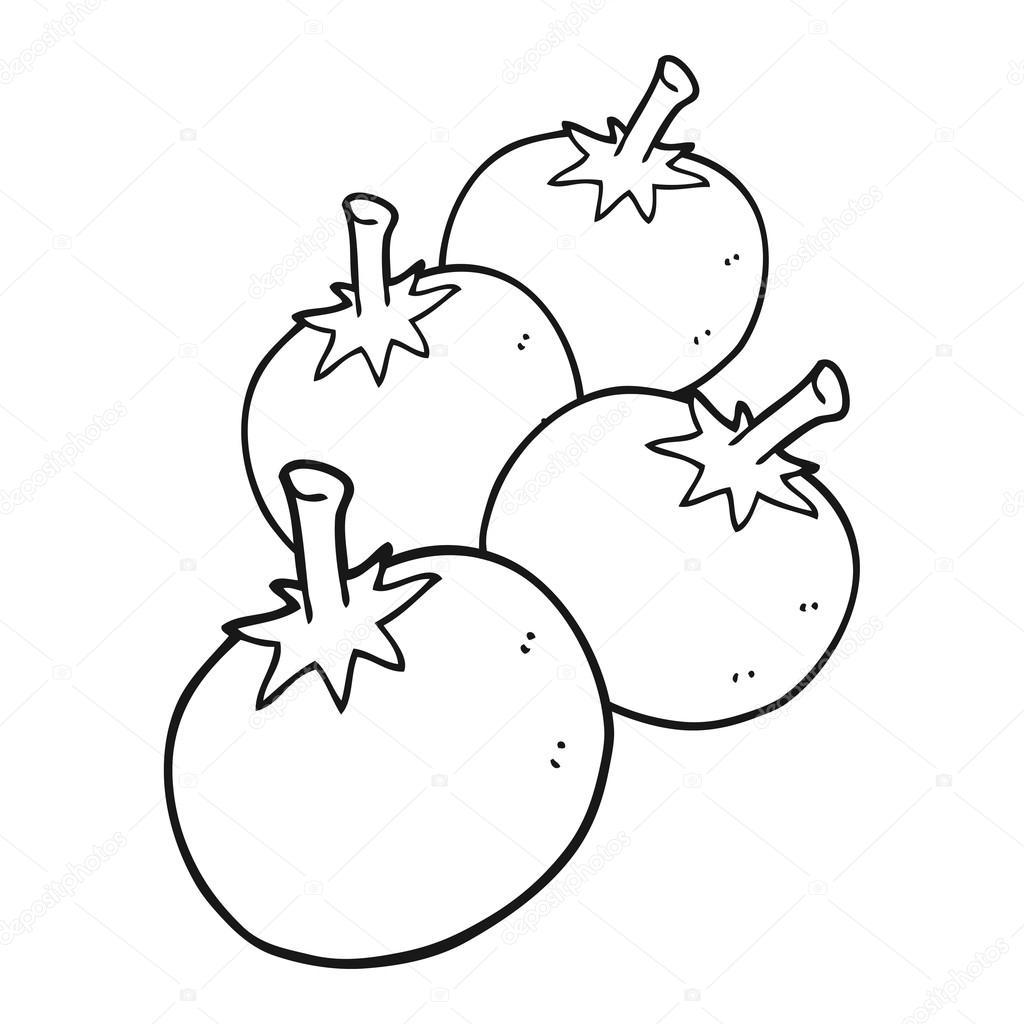 Black And White Cartoon Tomato