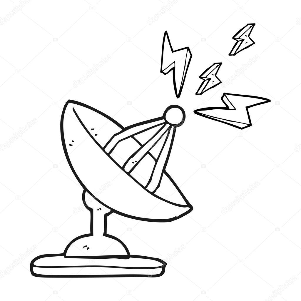 antenne parabolique caricature noir et blanc — Image