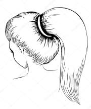 woman with ponytail stock vector