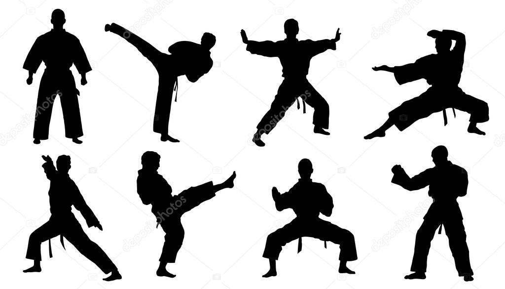 karate silhouettes — Stock Vector © yyanng #63645123