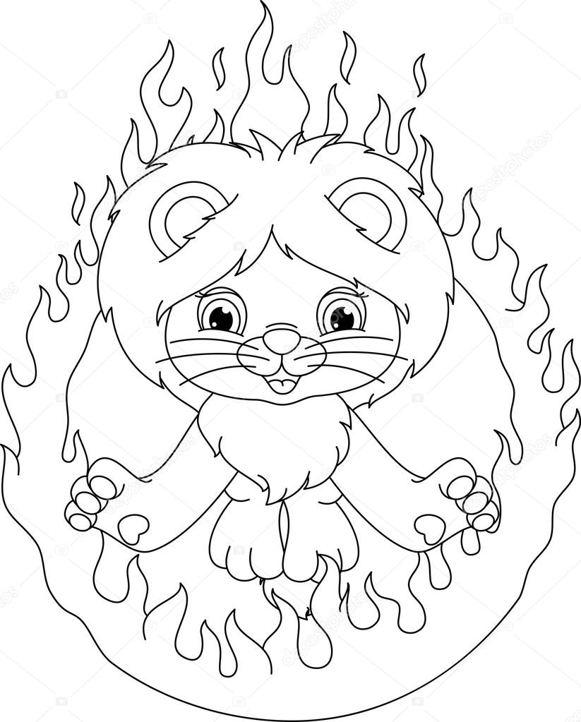 Lion and ring of fire coloring page — Stock Vector
